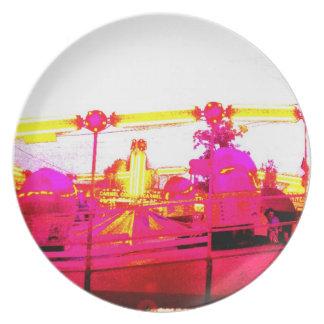 Pink Tilt A Whirl Ride Art Photo Wall Decor Gift Plate
