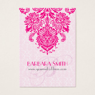 Pink Tint Damasks Hot Pink Floral Ornament Business Card