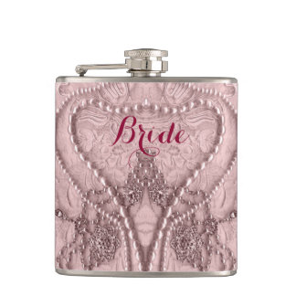 Pink Tint Girly Lace And Purls Bride Flask