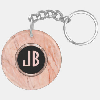 Pink Tint Marble Stone Pattern Keychain