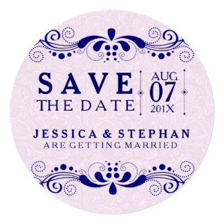 Pink Tint Paisley & Navy Blue Lace Save The Date Card