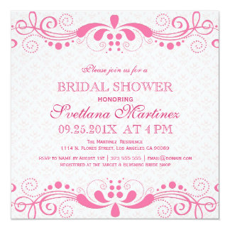 Pink Tint & Pink Floral Lace Bridal Shower Invite