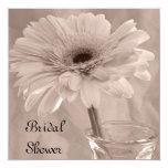 "Pink Tinted Daisy Bridal Shower Invitations 5.25"" Square Invitation Card"