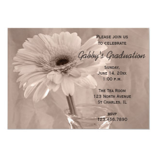 Pink Tinted Daisy Graduation Party Invitation