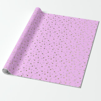 Pink Tiny Golden Stars Wrap Paper Wrapping Paper