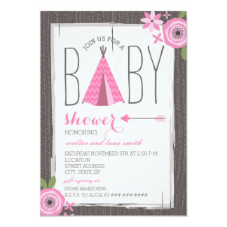 Pink Tipi Floral Girl Baby Shower Card