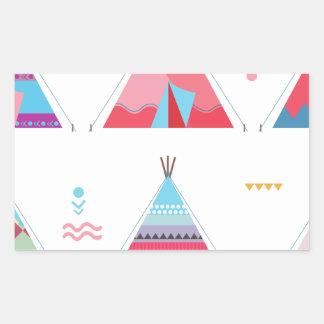 pink tipi rectangular sticker