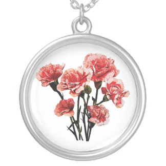 Pink Tipped Carnation Round Pendant Necklace