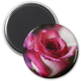 Pink Tipped Rose 2 Inch Round Magnet