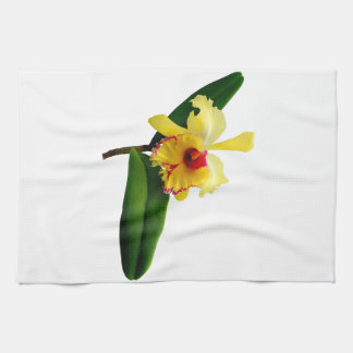 Pink Tipped Yellow Orchid Towel