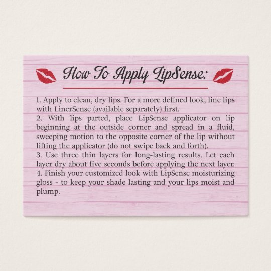 New Pink - Tips & Tricks - How To Apply - LipSense Business Card  XH61