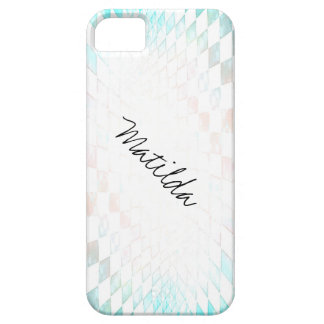 pink to blue checkerboard customized name iPhone SE/5/5s case