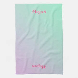 Pink to Mint Green - Customizable Hand Towels