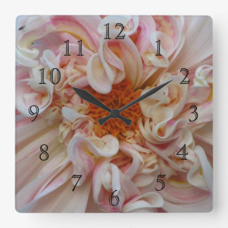 Pink To Orange Flower Square Wall Clock