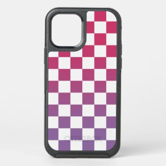 Pink to Purple and White Checkered Pattern OtterBox iPhone Case