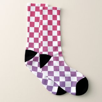 Pink to Purple and White Checkered Pattern Socks