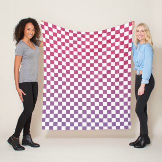 Pink to Purple Gradient Checkered Pattern Fleece Blanket