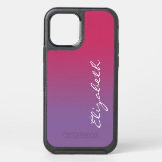 Pink to Purple Gradient Handwritten Script Name OtterBox iPhone Case