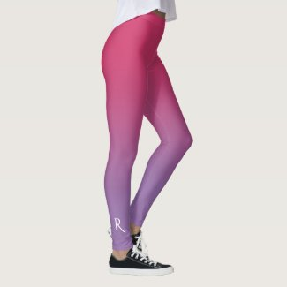 Pink to Purple Gradient with Elegant Monogram Leggings