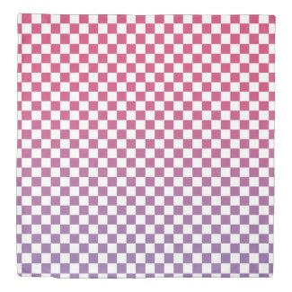 Pink to Purple Ombré Checkered Pattern Duvet Cover