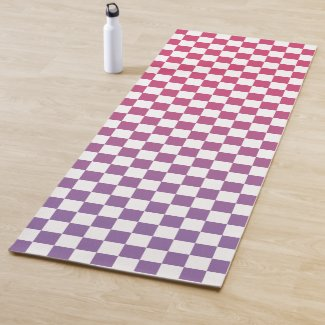 Pink to Purple Ombré Checkered Pattern Yoga Mat