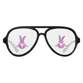 Pink to Purple Sitting Smiling Easter Bunny Aviator Sunglasses
