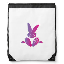Pink to Purple Sitting Smiling Easter Bunny Drawstring Backpack