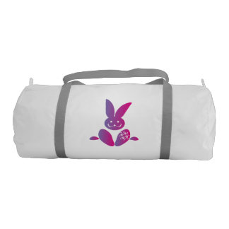 Pink to Purple Sitting Smiling Easter Bunny Duffle Bag