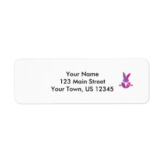 Pink to Purple Sitting Smiling Easter Bunny Label