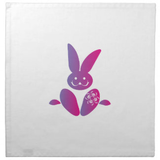 Pink to Purple Sitting Smiling Easter Bunny Printed Napkins