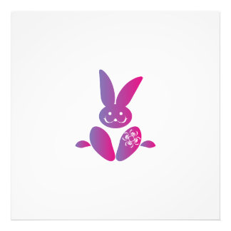 Pink to Purple Sitting Smiling Easter Bunny Photo Print