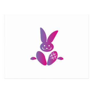 Pink to Purple Sitting Smiling Easter Bunny Postcard