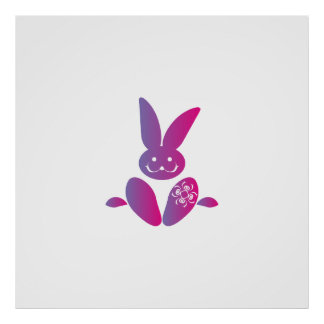 Pink to Purple Sitting Smiling Easter Bunny Poster
