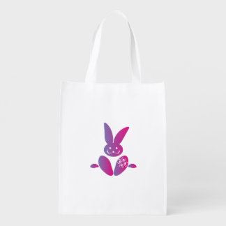 Pink to Purple Sitting Smiling Easter Bunny Reusable Grocery Bag