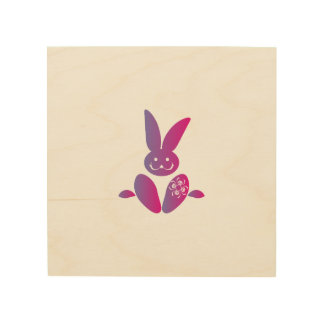 Pink to Purple Sitting Smiling Easter Bunny Wood Wall Decor