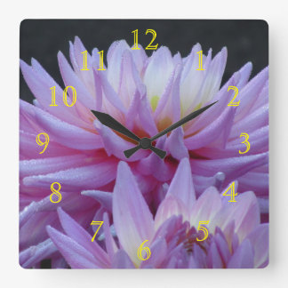 Pink To Yellow Flowers Square Wall Clock