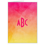 Pink to Yellow Watercolor Ombre Monogram Greeting Cards