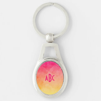 Pink to Yellow Watercolor Ombre Monogram Silver-Colored Oval Metal Keychain