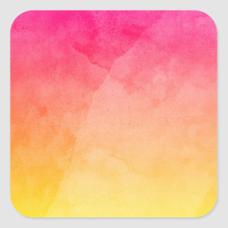 Pink to Yellow Watercolor Square Sticker