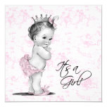 """Pink Toile Baby Girl Shower 5.25"""" Square Invitation Card"""