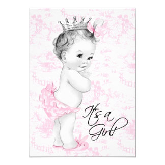 Pink Toile Baby Girl Shower Cards