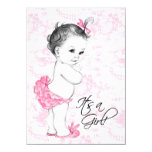 """Pink Toile Baby Shower 4.5"""" X 6.25"""" Invitation Card"""