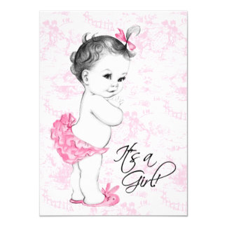 Pink Toile Baby Shower Announcement Card