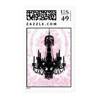 Pink Toile Chandelier Postage Stamps