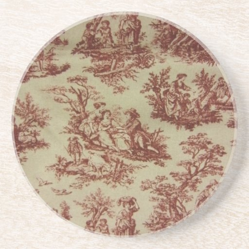 Pink Toile Drink Coaster