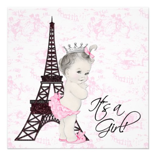 pink toile paris baby girl shower announcement
