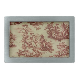 Pink Toile Rectangular Belt Buckle