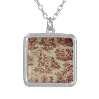 Pink Toile Silver Plated Necklace
