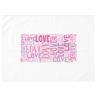 Pink Tone Inscriptions Love Pattern Tablecloth