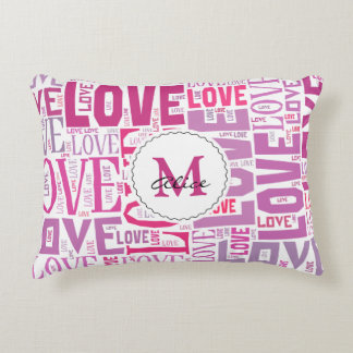 Pink Tone Inscriptions Love Pattern with Monogram Accent Pillow